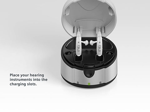 How to charge Siemens hearing aids with eCharger